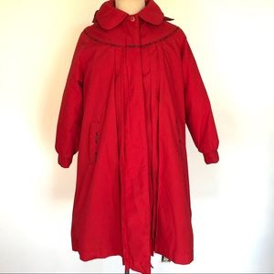 Vintage Rothschild Red Pleated Swing Coat Plaid